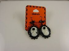 Gothic black cameo halloween earrings accessory