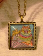 Fun Bead Rim Square Calico Patchwork Kitty Cat Kitten Brasstone Pendant Necklace
