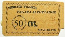 1914 Mexico Ejercito Villista 50 Centavos Paraga Al Portador #11834