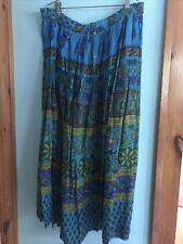 Vintage 1980s Indian Skirt Adini Maxi Drawstring Blue Green Paisley
