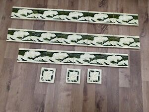 Minton China Works Repeated Patten Border Tiles X17 Stoke On Trent