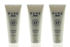 (3) PURE BY GILLETTE SOOTHING PREMIUM SHAVE CREAM WITH ALOE 6 FL OZ EA
