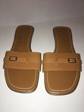 Montego Bay Club Leather Collection Woman's Dark Tan Slip On Open Toe Size 10