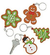 12 Christmas Cookie Cutout Key Chains Gingerbread Snowflake Snowman Trees NEW
