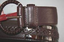 """Brighton"" Patchwork Belt~Leather~Brown~32~NWT"