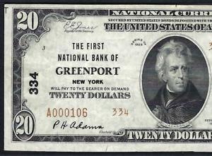 NY 1929 $20 TYPE-2  ♚♚GREENPORT, NEW YORK♚♚  PMG CH VF 35 EPQ  HARD TO FIND!