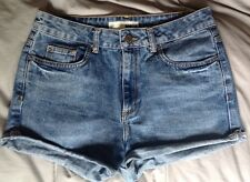 TOPSHOP DENIM SHORTS 10 W28 30 HIGH WAIST BLUE FESTIVAL