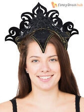 Carnival Headpiece Black With Gold Trim Fancy Dress Costume Accessory Vegas Drag