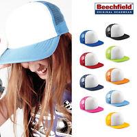 Junior Vintage Snapback Trucker -Beechfield B645B Kids padded cap with mesh rear