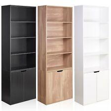 6 Tier Bookcase With 2 Door Cupboard Cabinet Storage Shelving Display Wood Shelf