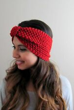 Turban Knit Head Wrap Ear warmer Texture Headband Boho head Wrap Wine Red