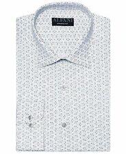 New $98 Alfani 15-15.5 32/33 Men Athletic-Fit White Gray Long-Sleeve Dress Shirt