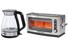 Daewoo Stainess Steel Illuminated Aqua Glass Kettle & 2 Bread Slice Toaster Set