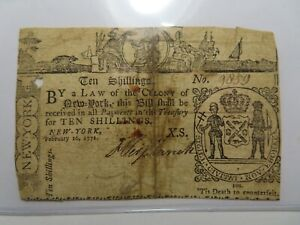 1771 Ten Shillings New York NY Colonial Currency Bank Note Bill, RARE ISSUE! 10s