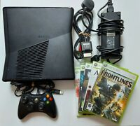 Xbox 360 S Slim Black Console 250gb Wired Controller, Scart Cable And 5 Games