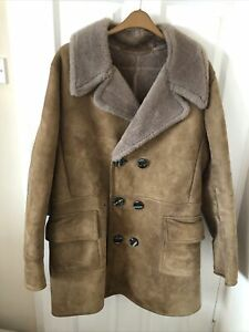 Mens Double Breasted Sheepskin Coat Vintage 46/48 Chest