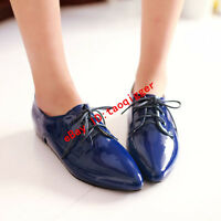 Women British Patent Leather shoes Pointy Toe Flats Oxfords Lace-up Casual Pumps