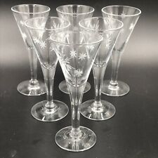 "Vintage 1960s Atomic Starburst Cordial Glasses Set of 6 Clear Cut Glass 4.25"" GS"