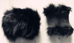 one pair jet black real genuine Chinese fox fur cuffs nylon lining jacket coat
