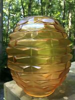 "Vintage Glass Mid Century Modern Hanging Light Globe 4"" Fitter Honeycomb"