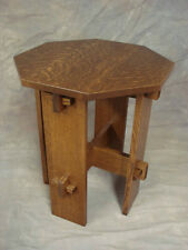 Wedged Tennon Octagon Top Mission Oak End Stand   Quartersawn Oak Free Shipping