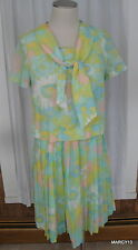 Vintage 50's 60's 2 pc Floral Pleated Skirt Boxy Blouse Outfit Bust 38 Waist 27