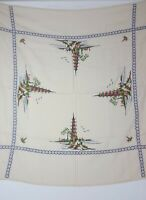 Vintage Cross Stitch Oriental Pagoda Design Linen Tablecloth 48 in x 49 in