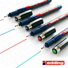 4 x Edding 1800 Stylo de DESSIN pigment Revêtement Fineliner 0.7mm Noir, bleu,