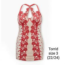 Torrid Mesh Lingerie Chemise. Beigh Mesh with Raspberry Pink Embroidery. Underwi