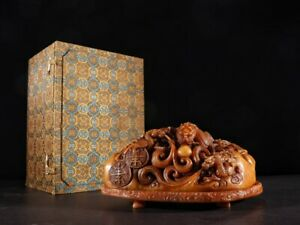 Fine Antique Incenser Ornament in Shoushan Stone-Field Yellow Stone