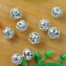 100pcs silver Metal Hollow Round Charm Spacer Beads 4MM