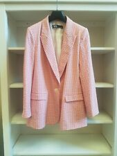 Zara Pink Seersucker-Style Gingham Pattern Jacket XL