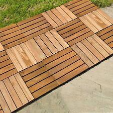 More details for non slip natural wooden decking flooring square floor tiles interlocking slab