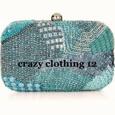 BNWT MONSOON ACCESSORIZE BEADED BLUE EMBELLISHED HARD CASE CLUTCH EVENING BAG