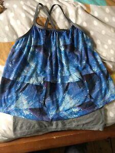 Size M Medium Sleeveless Blue Exercise Vest Top.  (f1)