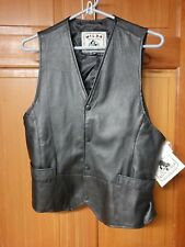 M Wilda Collection New York USA Black Leather Snap Motorcycle Vest NWT