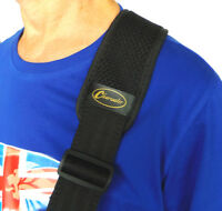"""GUITAR or BASS STRAP WITH 3"""" WIDE SOFT SHOULDER PAD IN BLACK by CLEARWATER"""