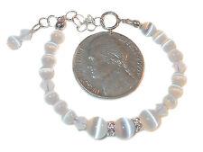 WHITE Cats Eye Crystal Bracelet NEWBORN BABY Sterling Silver Swarovski Elements