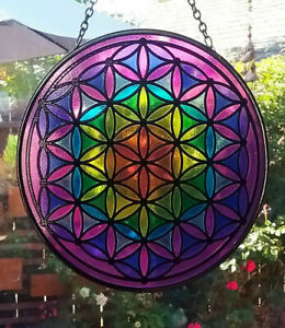LARGE Hanging Stained Glass FLOWER OF LIFE SUNCATCHER, 7 CHAKRA Sacred Geometry