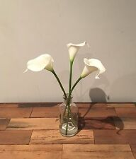 Clear Bottle Vase Fake Artificial Water Flower Arrangement White Calla Lily