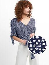 GAP Women's Short Sleeve Wrap-Front Tie Blouse, Navy Floral, Size XL, NWT