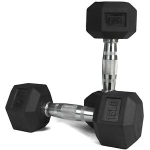 Hex Rubber Dumbbell 15lbs pair