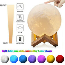 "3D Moon Night Light Table Lamp Usb Charging Moonlight Touch Color Changing 6""/4"""