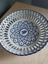 "Decorative 9"" Blue White Bowl"