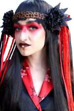 Black Red Flower Rave Psytrance Gothic Dread Hippy Festival Evil Headdress