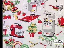 RPFMM86 Retro Atomic Kitschy Kitchen Cooking Oven Mixer Cotton Quilt Fabric