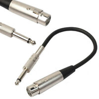 3-Pin XLR Female to 1/4 6.35mm Mono Jack Male Plug TRS Audio Cable Mic A IWB