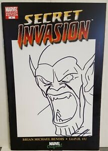 Secret Invasion #1 Blank Sketch Variant Cover Dragotta Sketch And Signature - VF