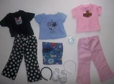 """Dogs paw doll clothes lot fits 18""""American girl dolls 3 outfits, shoes headbands"""