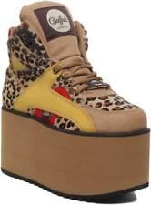 Buffalo 1534073 Women Leather Matt Platform Shoes In Leopard Size UK 3 - 8